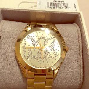 Michael Kors Womens Slim Runway Watch, Gold